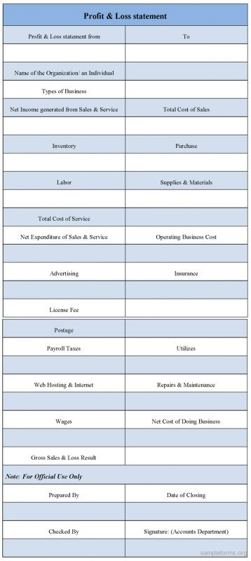 Profit And Loss Statement Form  Template Business