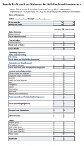 profit and loss statement self employed profit and loss statement template for self employed x
