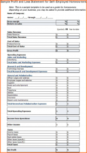 profit and loss template for self employed profit and loss statement for self employed profit and loss statement for self employed template free