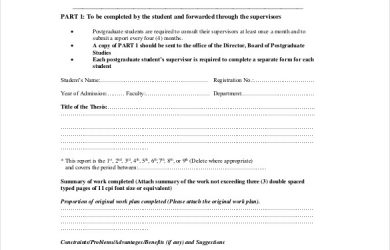 progress report example postgraduate progress report form