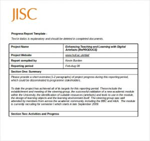 progress report example progress report template short
