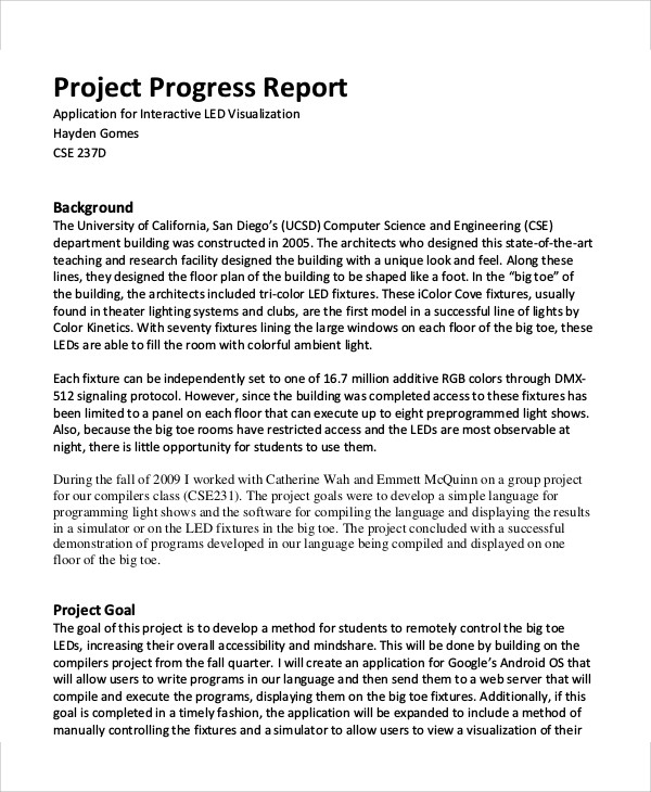 progress report example