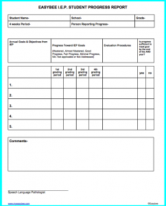 progress report template progress report