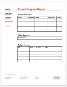 progress report template project progress report template