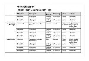 project communication plan template project team communication plan
