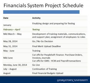 project implementation plan financials project schedule