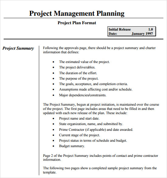 Project Management Plan Example  Template Business