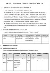 project management plan template free project management communication plan template