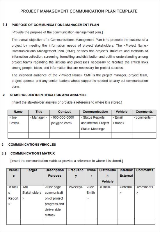 Project management plan template template business for Change communication plan template