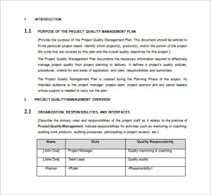 project management plan template project quality management plan word format free download