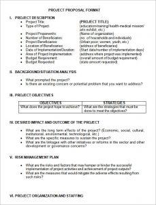 project proposal format project proposal format
