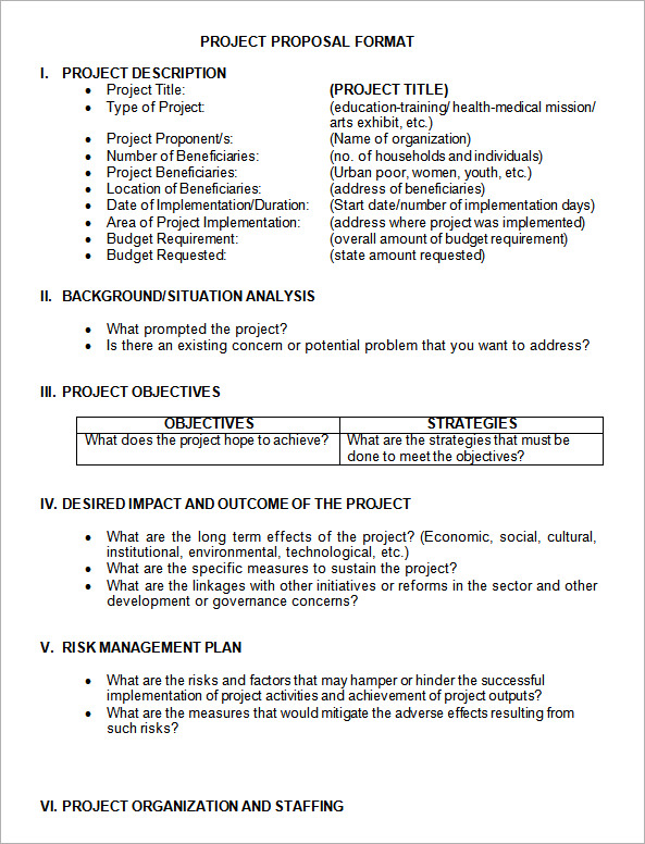 Project Proposal Format Template Business