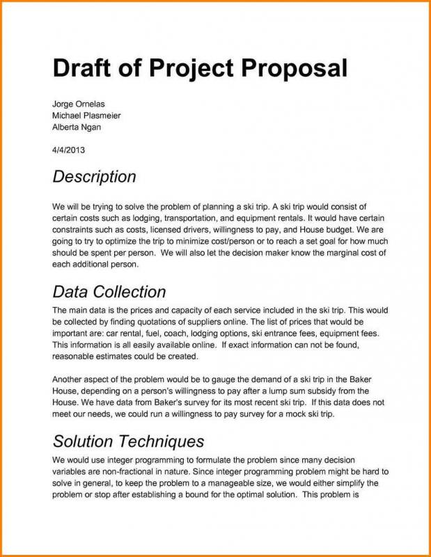Project proposal sample template business project proposal sample altavistaventures Images