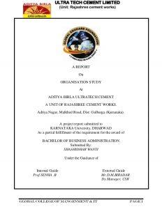 project report format aditya birla ultratech cement