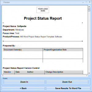project report template ms word project status report template software