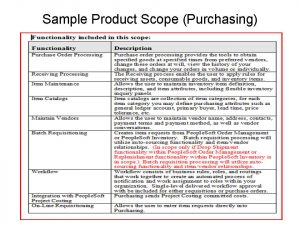 project scope example erp in product scope