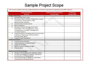 project scope example erp project scope