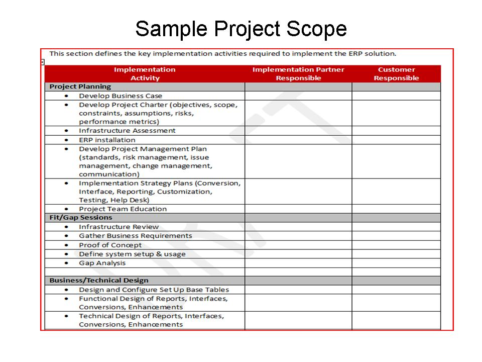 Project scope example template business for Erp implementation project plan template