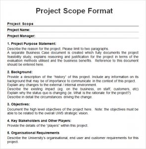project scope example project scope sample format