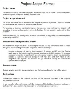 project scope example project scope sample word form free