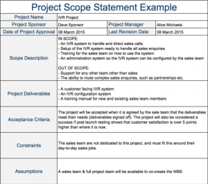 project scope example project scope statement example