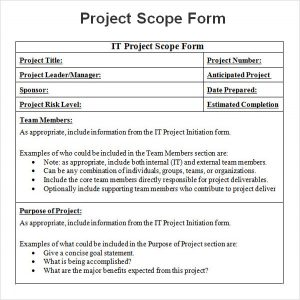 project scope example project scope word sample format download