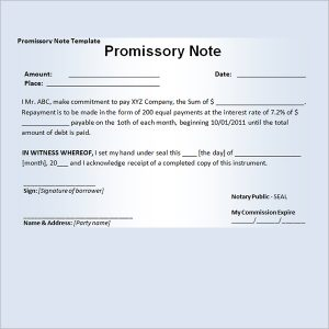 promissory note example promissory note template