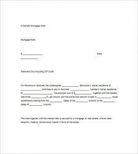 promissory note sample mortgage promissory note template
