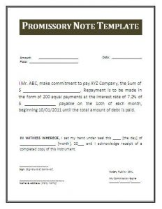 promissory note sample promissor note template