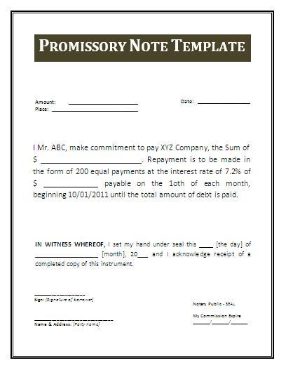 Promissory Note Sample  Promisary Note Template