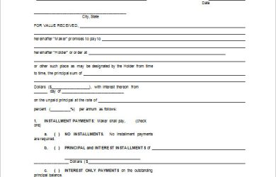 promissory note template blank promissory note form