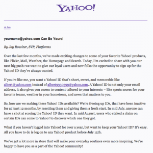 promotion announcement email yahoo announce
