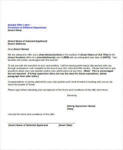 promotional letter templates internal promotion offer letter