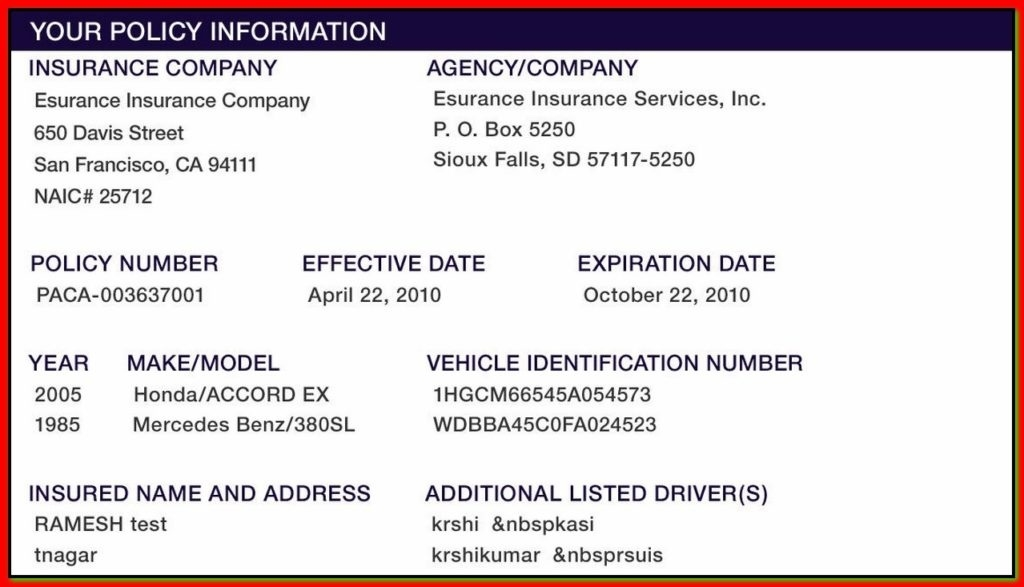 Proof Of Auto Insurance Template Free Template Business - Proof of auto insurance template free