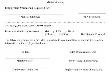 proof of employment form doc verification of employment form template employment