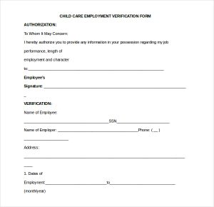 proof of employment form child care employment verification form