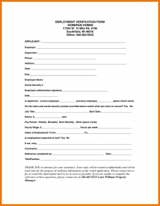 proof of employment form job verification form employment verification form