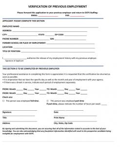 proof of employment form previous employment verification form