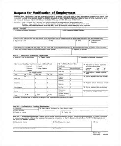 proof of employment form request for verification of employment