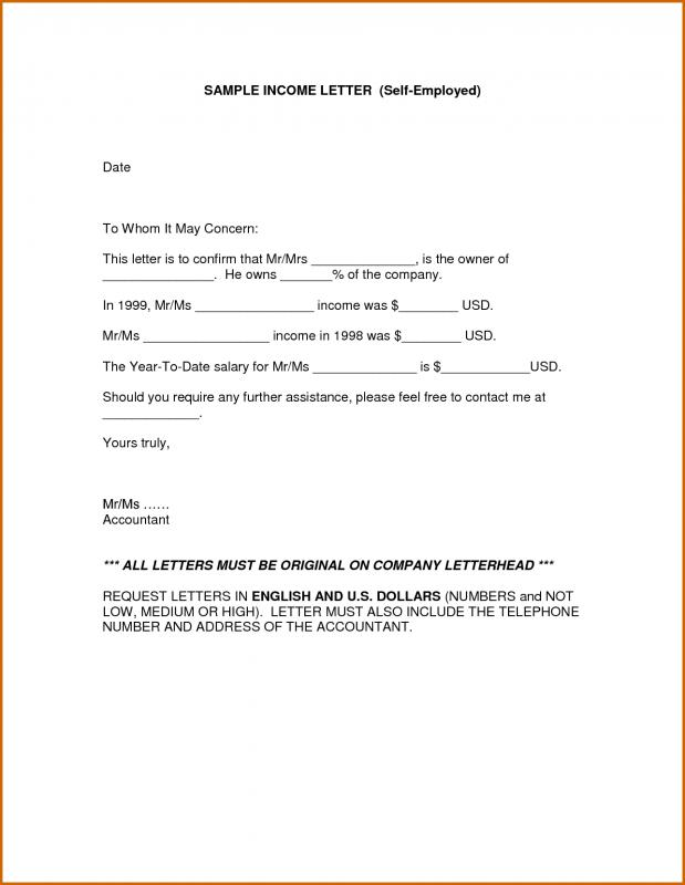 Proof Of Income Letter Gallery - Download Cv Letter And Format