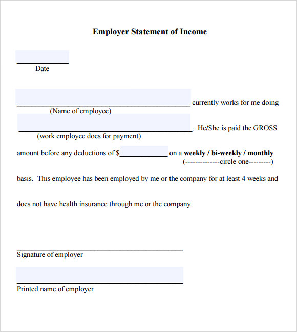 proof of income for self employed template