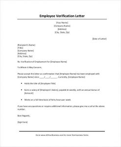 Proof Of Income Letter Sample Verification From Employer