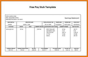 proof of income template free printable pay stubs template best template idea within free printable paycheck stubs