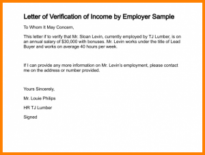 proof of income template income verification letter template letter of verification of income by employer sample