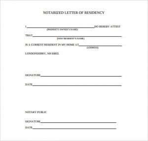 proof of residency letter notarized blank notarized letter of residency download