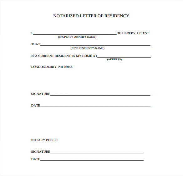 proof of residency letter notarized