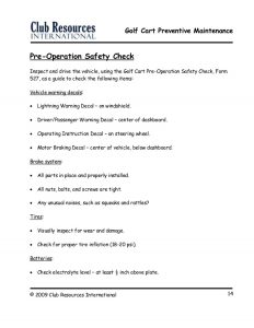 property inspection checklist golf cart preventive maintenance
