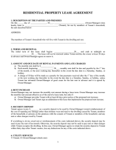 property rental agreement residential property lease agreement