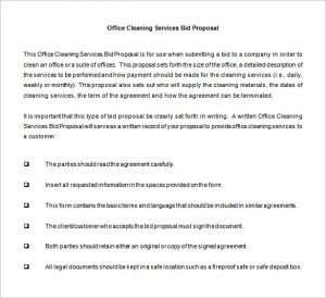 proposal for services bid proposal for cleaning services word