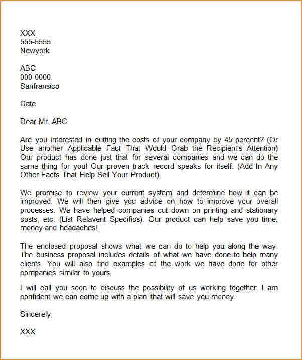 proposal letter format